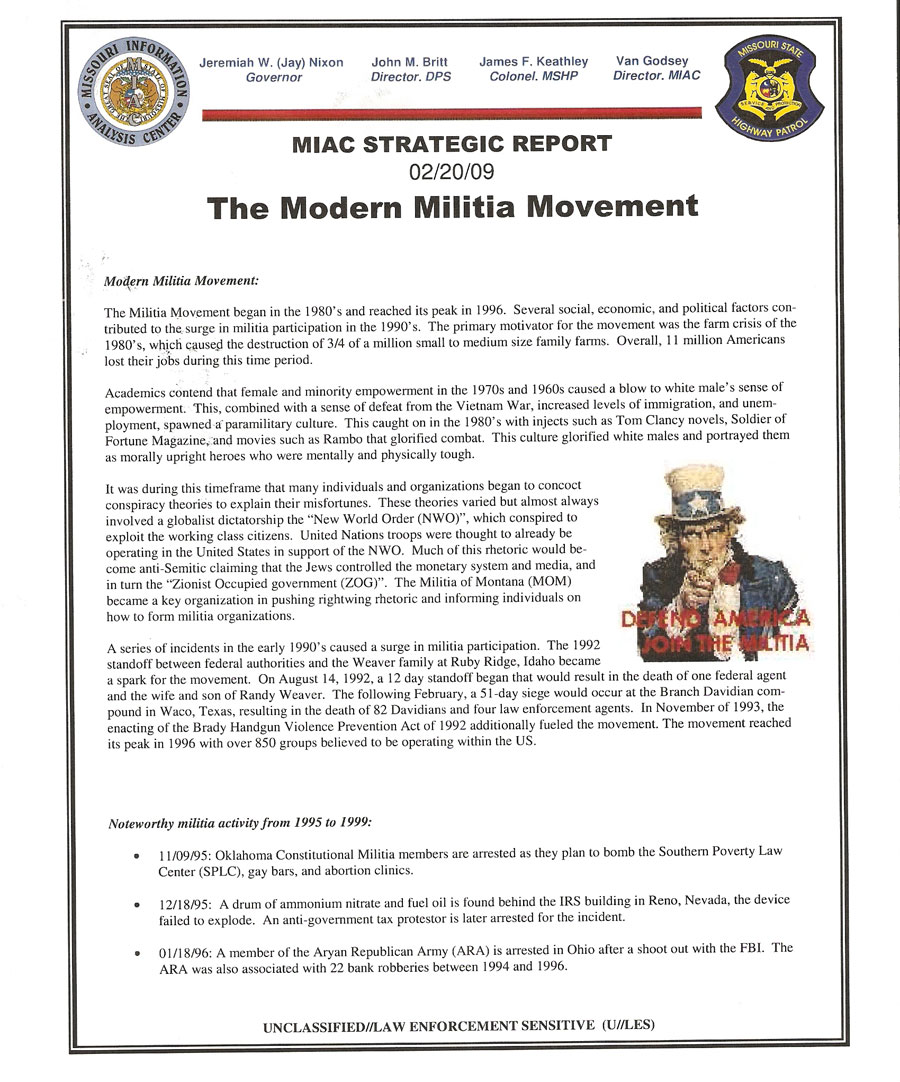 Missouri Information Analysis Center (MIAC) Report on the Modern Militia Movement (page 1)