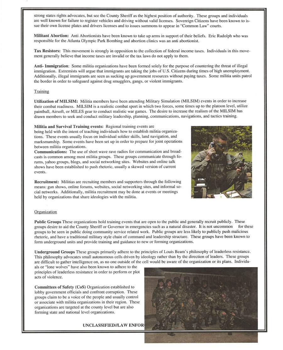 Missouri Information Analysis Center (MIAC) Report on the Modern Militia Movement (page 4)
