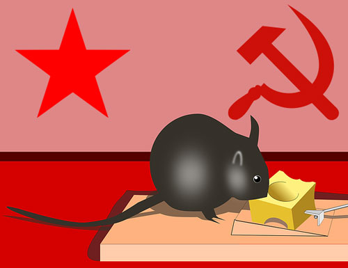mouse eats cheese from a mousetrap - red star, hammer & sickle on wall