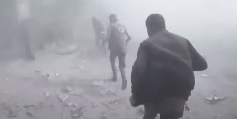 Images from the missile strike on Douma, Syria were widely used as justification for Trump's bombing campaign. / Image: CGA screenshot from news broadcasts.