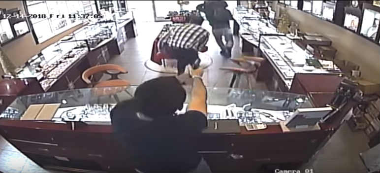 Suspects quickly exit the store after seeing the handgun pointed at them. Store owners pursue. Handguns, in the hands of honest and decent people, turn the tables on criminals and prevent crime and violence every day.