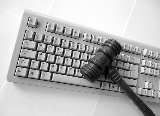 keyboard with judge's gavel