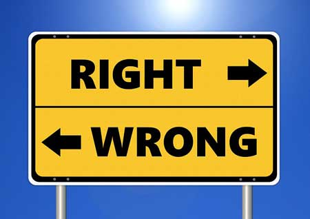 sign: right vs. wrong