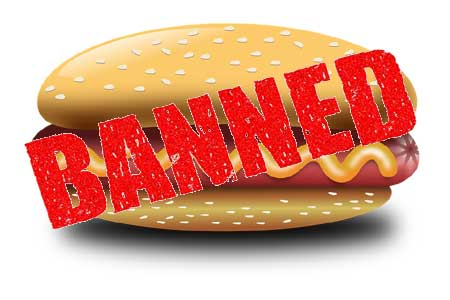 "hot dog with ""banned"" stamped on it"
