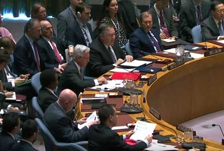 Secretary of State Mike Pompeo speaks about Venezuela at the UN Security Council. / Screenshot from YouTube video.