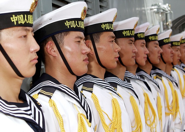 Chinese sailors lined up.