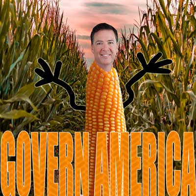 James Comey's head on an ear of corn.