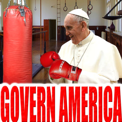 The pope, in a gym, wearing boxing gloves, facing a punching bag.