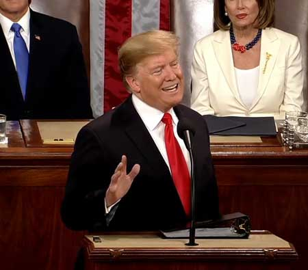President Trump delivering his 2019 State of the Union address.