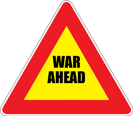 "Sign: ""War Ahead"""