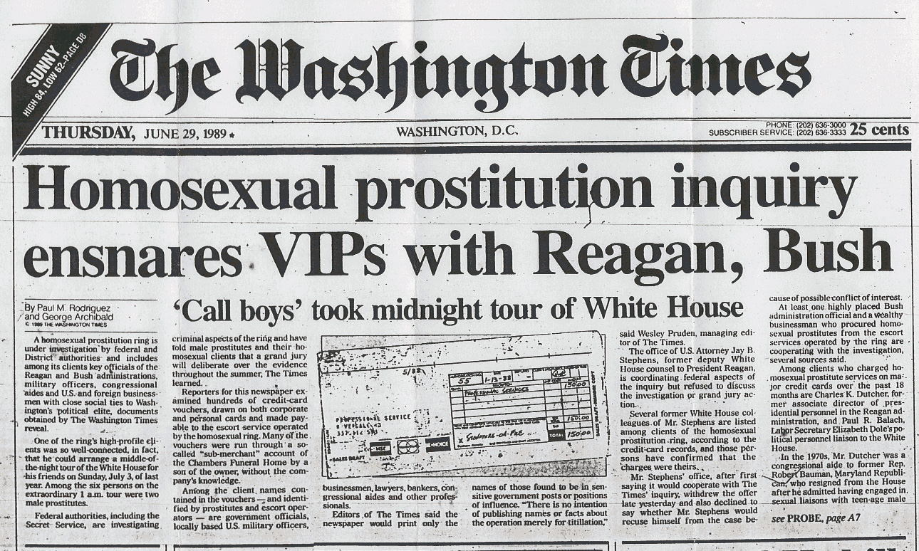 Washington Times front page, reporting on the Franklin Coverup scandal