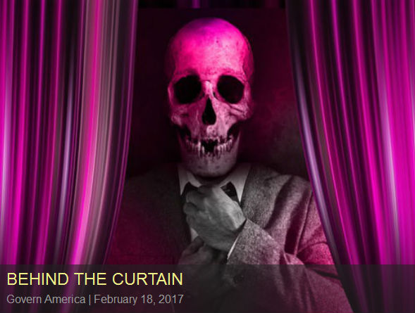 behind the curtain (suited man with skull for a head behind a curtain)