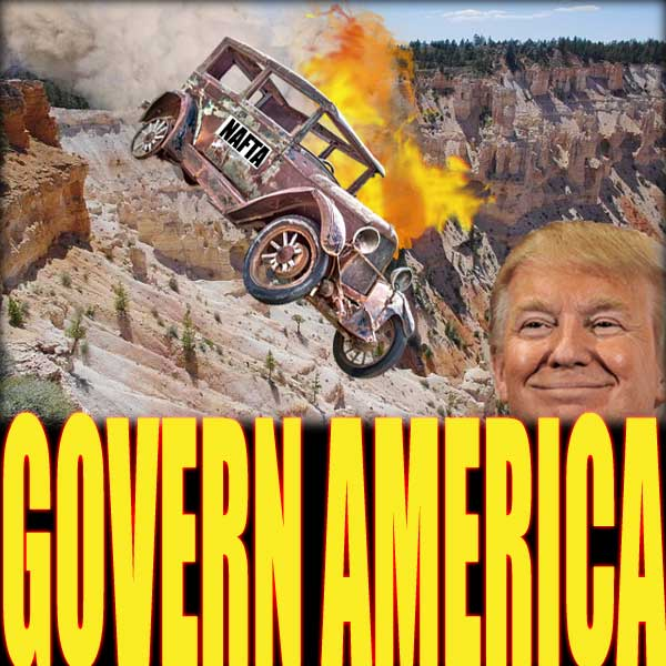 Antique car with NAFTA on the door rolls over a cliff as smoke and flames shoot out of it. Trump watches with a smile on his face.