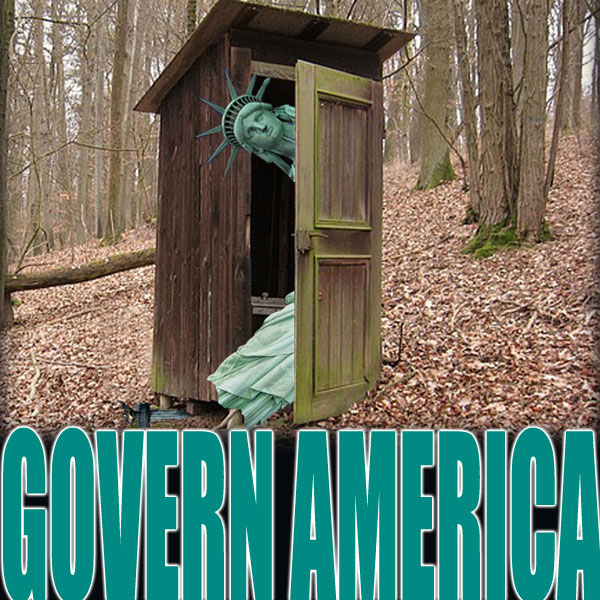 Lady liberty peers out of an outhouse.