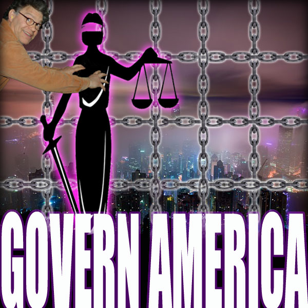 Al Franken gropes a silhouette of the statue holding the scales of justice and sword. Behind them, are a matrix of chains in front of a large city.