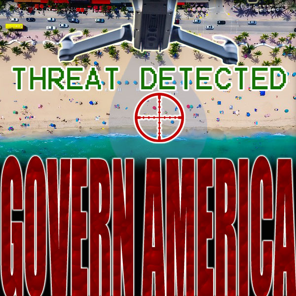 "Drone hovers above a beach, scanning people, the words ""threat detected"" appear above crosshairs"
