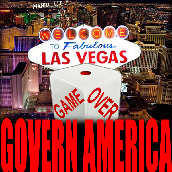 "Welcome to Las Vegas sign with dice in front of it that spell out ""Game Over"""