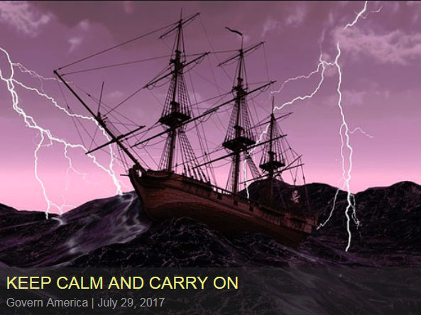 Keep Calm and Carry On: A ship sales on stormy seas as lightning flashes in the sky.