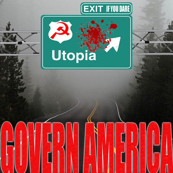 road sign with hammer and sickle and blood stain, pointing the way to utopia