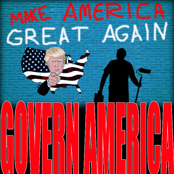 "Blue brick wall with ""make America great again"" painted on it by a silhouette painter."