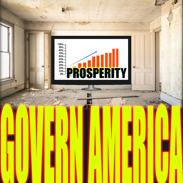 "Dilapidated living room with TV that shows chart with upward trend, and the word ""prosperity""."