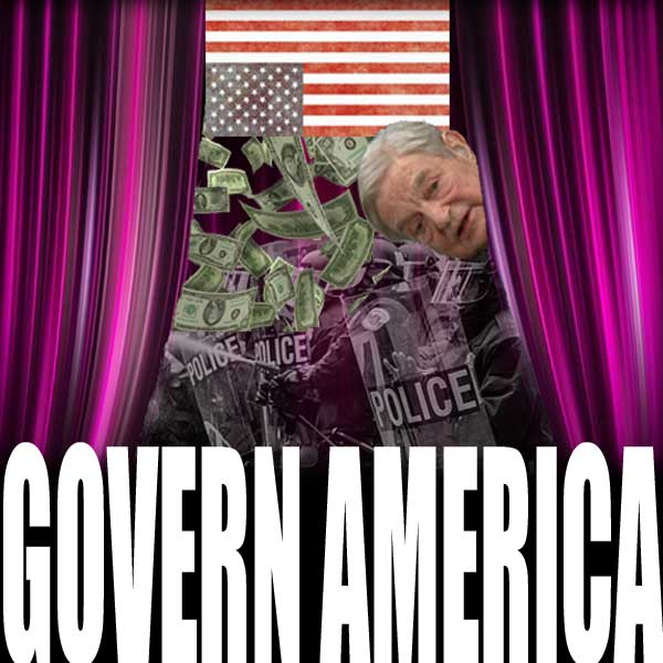 Soros, with his money, peaks out from behind a purple curtain as riot police fight in front of an upside down U.S. distress flag.