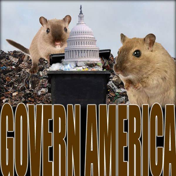 Capitol building in a garbage dump with large rodents around it.