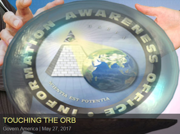 Touching the Orb (An orb with the Total Information Awareness logo inside being touched by hands)